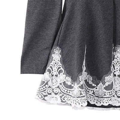 Hirigin женские зимние рубашки с длинными рукавами с круглым вырезом серого цвета, повседневные кружевные цветочные блузки на тонких бретелях