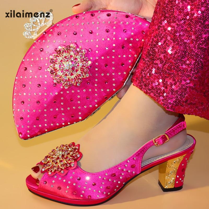 bf33d748fd2ee7 Et Élégant Chaussures Femmes green Italien D'été Mariage Sacs pink Shes  Gold Correspondant Ensemble Pour fuchsia 2019 Fuchsia Sac purple De  yIfg76mbYv