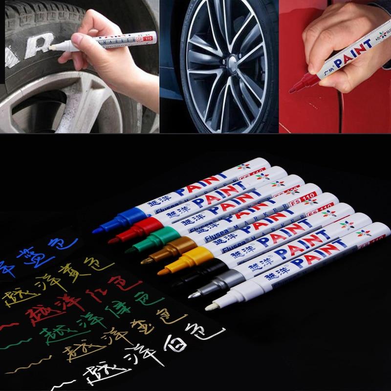 12 renk su geçirmez kalıcı araba boya kalemi araç lastiği sırt işaretleme kalemleri grafiti yağlı kalem araba Styling oto araba aksesuarları