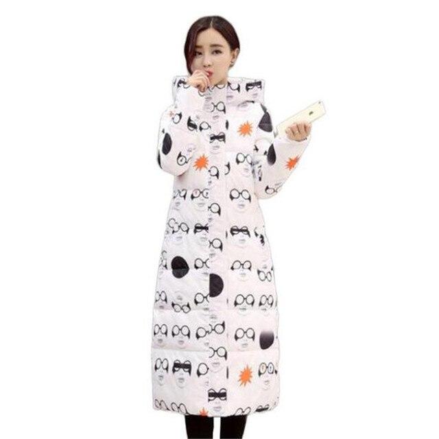 2017 mujeres de invierno delgada capa larga chaqueta gruesa parka cotton clothing para mujer camuflaje de impresión de estudiantes encapuchados outwear caliente s269