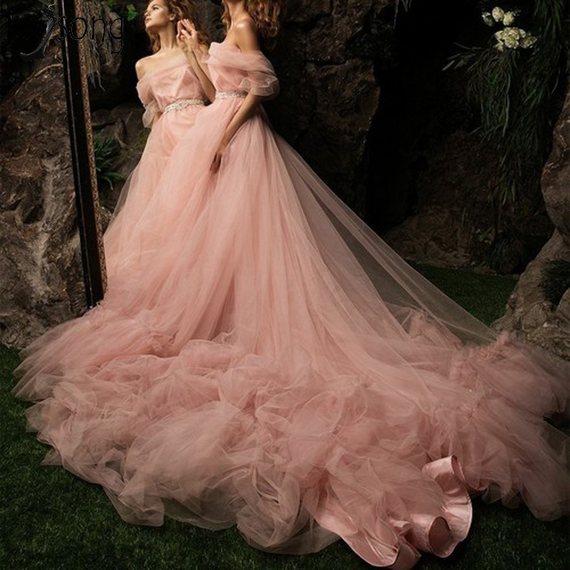 Fairy Tulle Long Evening   Dress   Dusty Pink Boat Neck Off the Shoulder   Prom     Dress   Chic Ruffles Court Train Party Gown Gala Wear