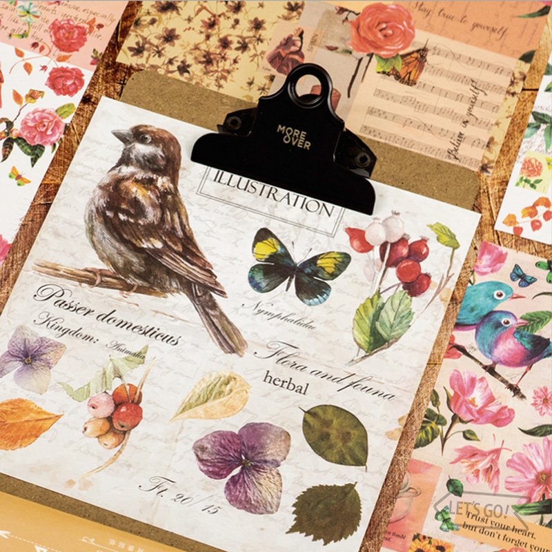 4 pcs/bag Vintage adornment old newspaper bird paper sticker package DIY diary decoration sticker album scrapbooking