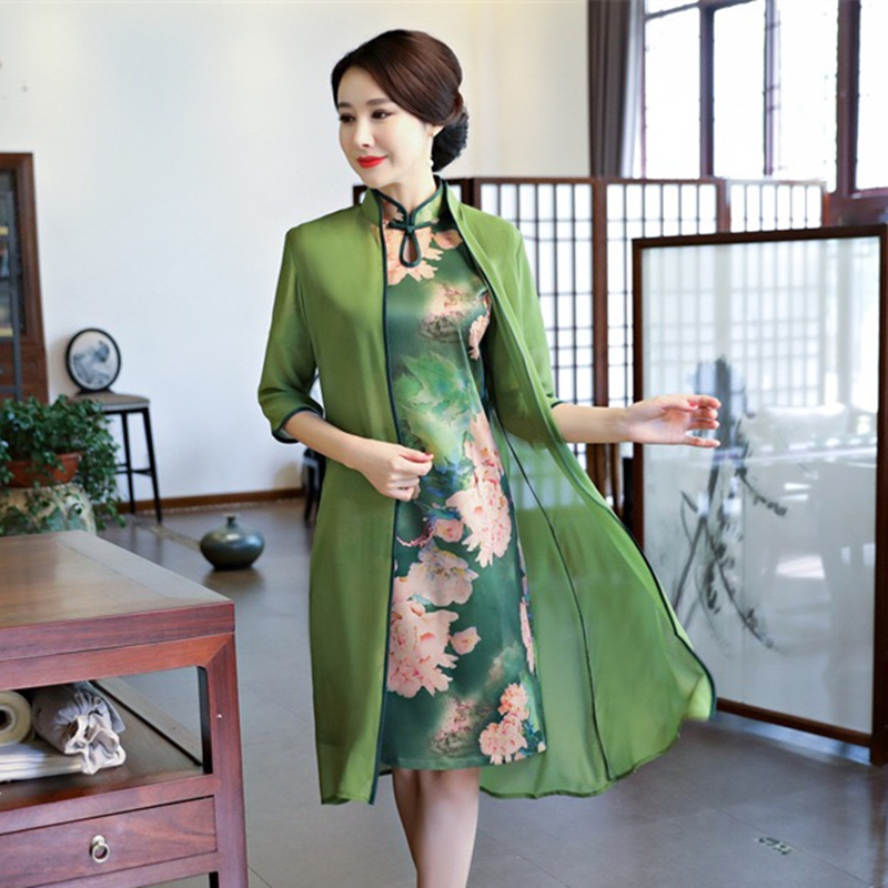 New Vietnam Aodai Poplin Silk Cheongsam Dress Women Autumn Winter Midi Qipao Open Stich Trench+dress 2 Pieces Sets Female Traditional & Cultural Wear