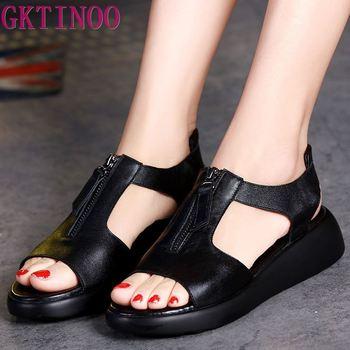 GKTINOO Women's Sandals Plus Size 34-42 Summer Genuine Leather Ladies Shoe Sandals Women Platform 4.5cm Heels Female Shoes 1