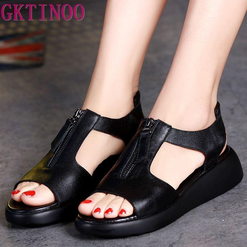 GKTINOO Women's Sandals Plus Size 34-42 Summer Genuine Leather Ladies Shoe Sandals Women Platform 4.5cm Heels Female Shoes