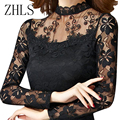 Women Top Blusas Autumn 2016 New Long Sleeve Lace Blouses Stand Collar Hollow Out Mesh Crochet Black White Shirt  Female
