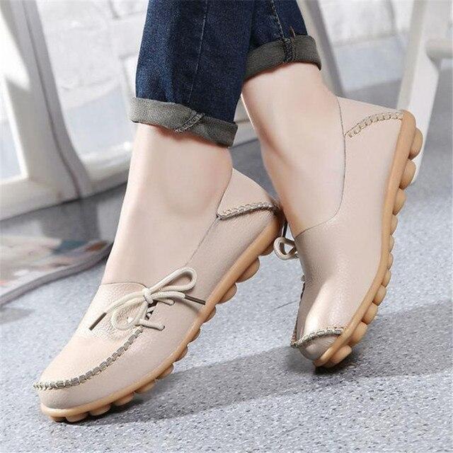 2017 Новый Женщины Натуральная Кожа Обувь Мокасины Мать Мокасины Мягкая Досуг Квартиры Женские Вождения Обувь Повседневная обувь женщина