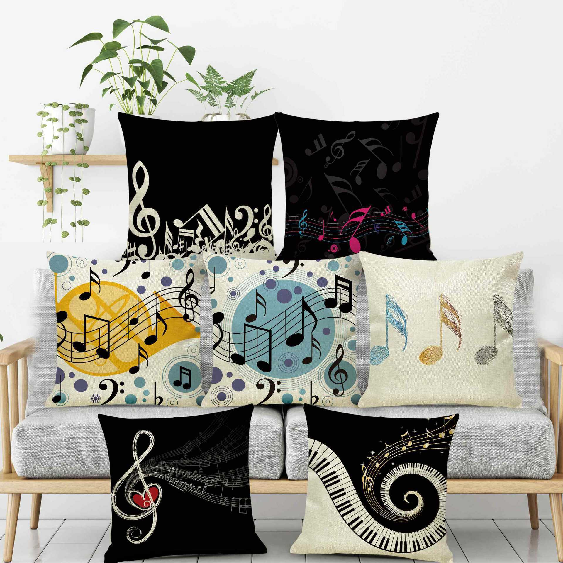 music note pillow case