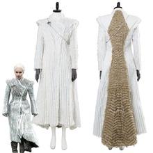 Game of Thrones Season 7 E6 Daenerys Targaryen Cosplay Costume Winter  Outfit Dragonstone Snow Dress( f872071b62ab6