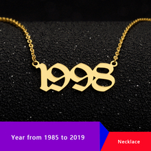 Old English Number Necklaces Personalized Year Pendents From 1985 To 2019 Necklace For Women Clothing Accessories