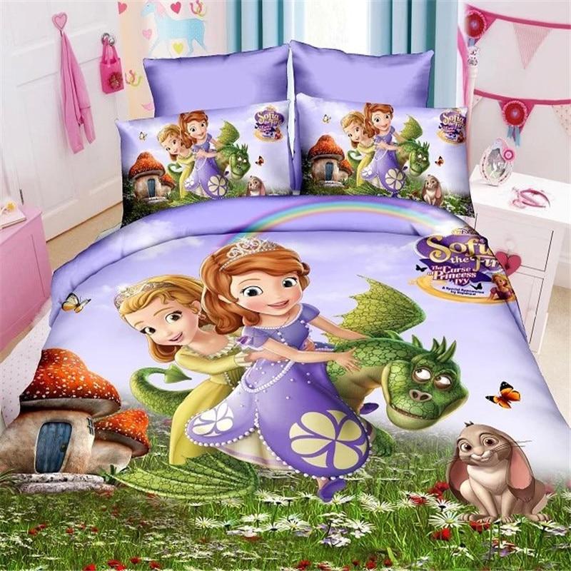 Cartoon Sophia Princess Kids Girls Bedding Set Duvet Cover Bed Sheet Pillow Cases Twin Single Size  2/3 Pieces