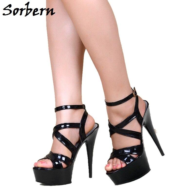 Hauts Chaussures Plate Boucle 10 Talons Dames Sorbern Noir Partie Sandales Cheville Chaton Mode D'été Color De Taille custom Femmes forme Designer wpw01xAX