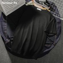 Mens Clothing Cool Neutral concise style black T-shirt Short sleeve Pure colour Wild Men Shirt cotton