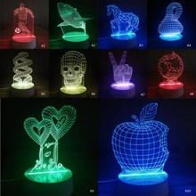 1 PC 3D Illusion  Skull Lamp Colorful Acrylic LED Night Light Micro USB Table Desk Lamp Wedding Decor Christmas Gift P22