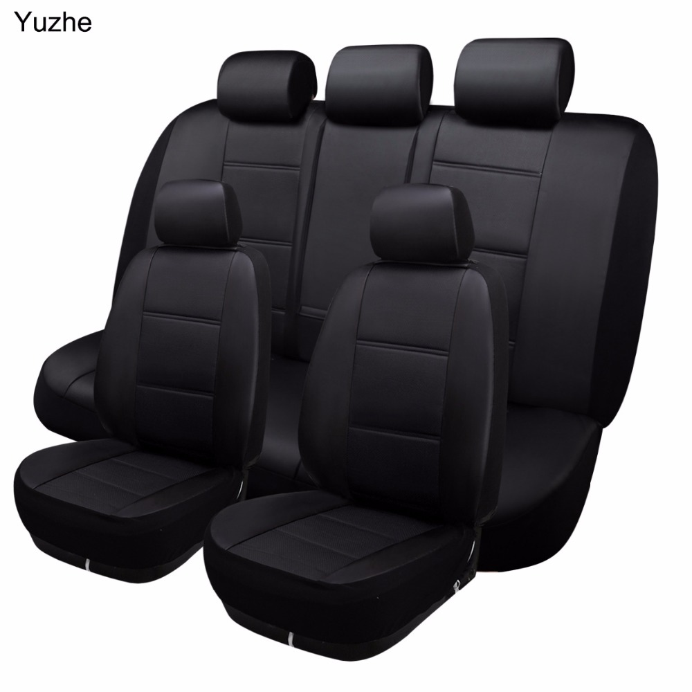 Universal Black Eco Leather Full Set Car Seat Covers fits VW Passat B5