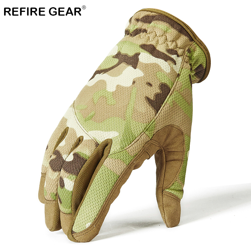 Refire Gear Outdoor Tactical Camouflage Full Finger Gloves Men Winter Military Hiking Gloves Cycling Riding Camo Army Gloves