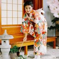Women's Yukata Robe Japan Classic Kimono 4 Pieces/Set Beautiful Floral Prints Vintage Dress Cosplay/Performing Wear