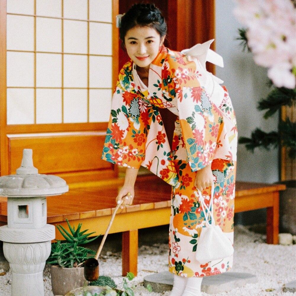 Bata Yukata Para Mujer Kimono Clásico Japonés 4 Unidsset