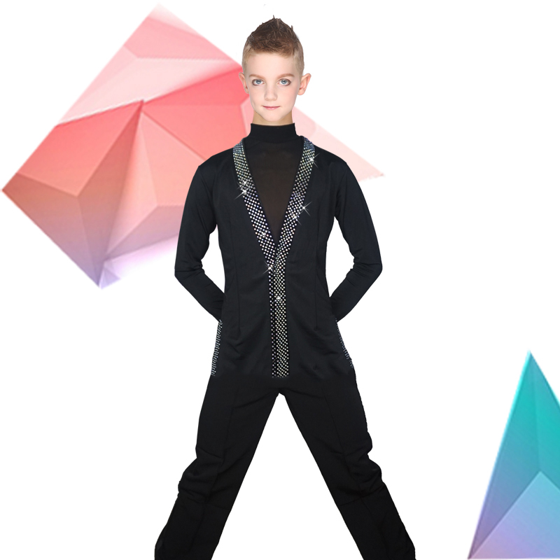 Latin Dance Shirts Boys Black Rhinestone Jacket Coat Vest Children Competition Performance Dancing Top Samba Costumes DNV10247-in Latin from Novelty & Special Use    3