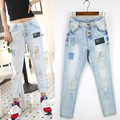 Casual Snow Wash Boyfriend Ripped Jeans Women Denim Fashion Holes Jeans Slim Beggar Jeans Washed Distressed Jeans Female