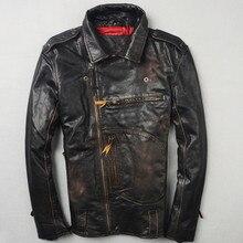 2017 Men Vintage Black Genuine Leather Biker Jacket Diagonal Zipper Real Cowhide Slim Fit Short Motorcycle Coat FREE SHIPPING