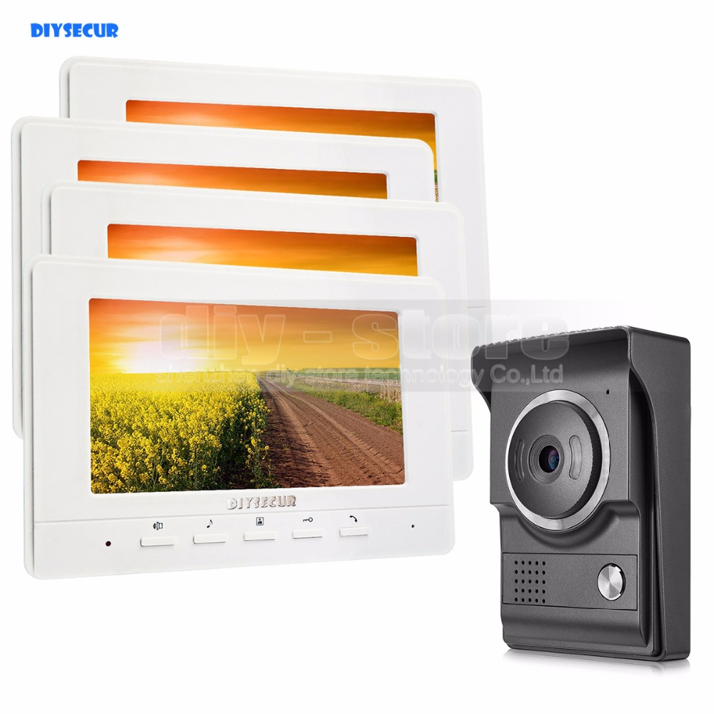 DIYSECUR 7inch Video Intercom Video Door Phone 700TV Line IR Night Vision HD Camera For Home Office Factory White 1V4