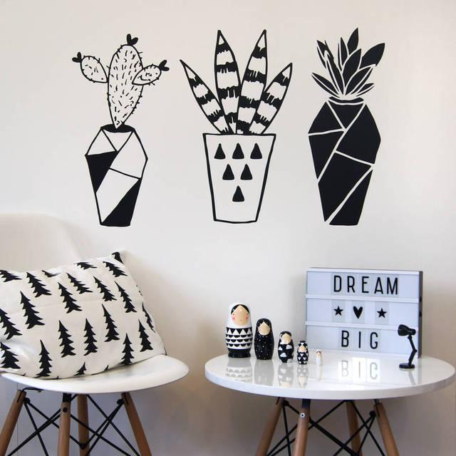 Wandtattoo Home geometrische kaktus topfpflanzen vinyl wandtattoo home decor
