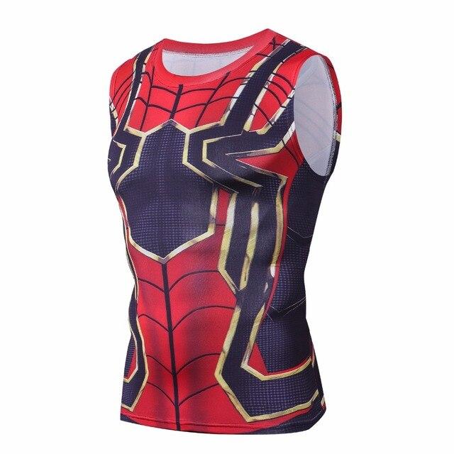 15f9486a7a8e76 Avengers 3 Iron spider man 3D Printed T shirts Men Compression Shirts 2018  Summer Infinite war Tops Male Sleeveless T-shirts