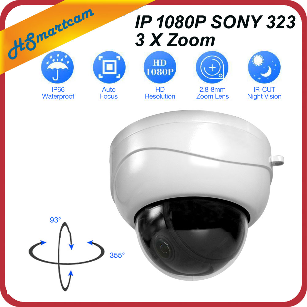 Mini PTZ IP Camera P2P 1080P Onvif  3X Zoom Full HD SONY IMX323 2.0MP IR Indoor Dome Surveillance Camera For HD NVR CCTV System ptz ip camera 1080p onvif h 264 3x zoom full hd p2p indoor plastic dome 15m ir night vision 2mp p2p surveillance camera