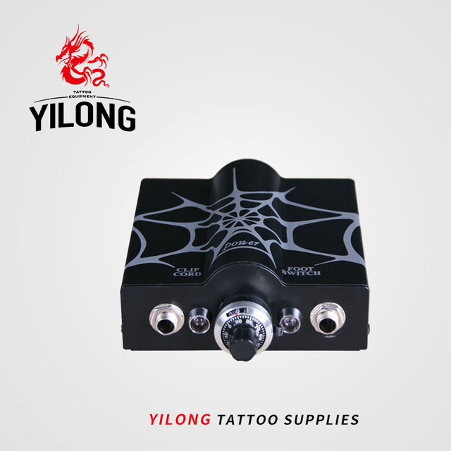 Professional Mini Tattoo Power Supply Black Spider Web Double Wave Tattoo Power Supply For