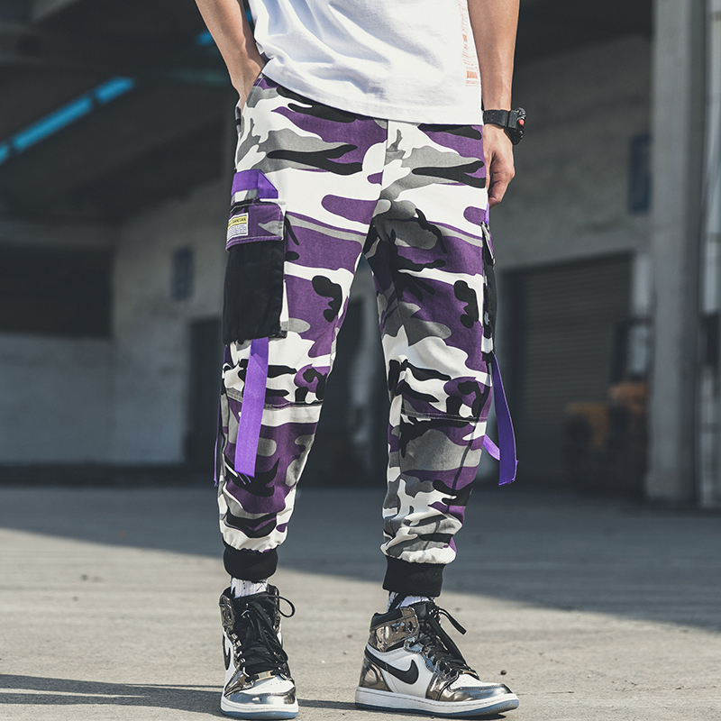 Plus Size Purple Camouflage Cargo Pants Ribbon Joggers For Men Tracksuit Trouser Big Pockets Cargo Pants Men Camo Streetwear