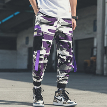 Plus Size Purple Camouflage Cargo Pants Ribbon Joggers For Men Tracksuit Trouser Big Pockets Camo Streetwear
