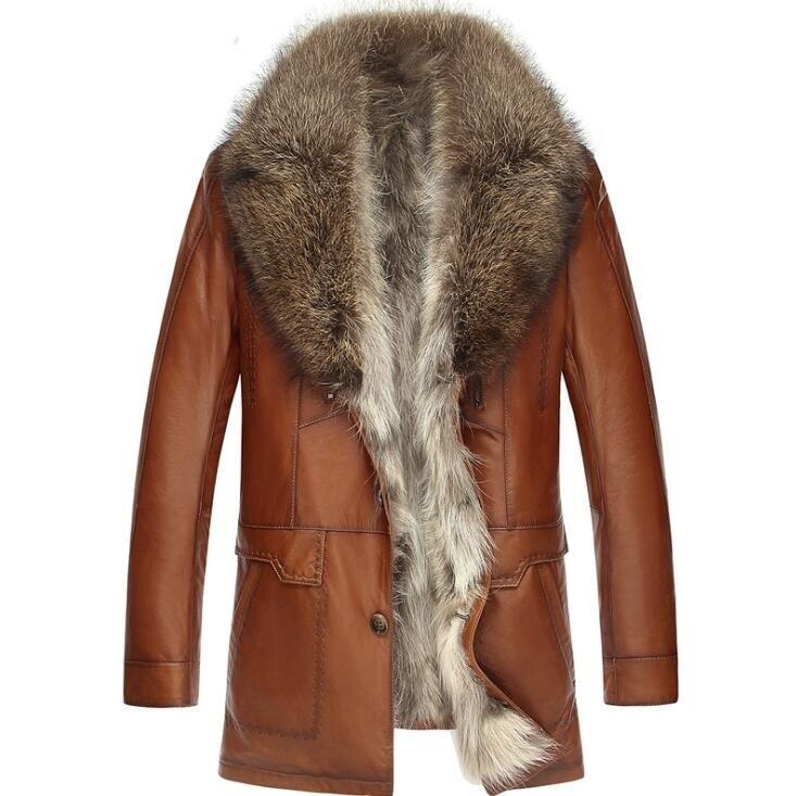 New Arrival Men's High Quality Sheepskin Leather Coat Raccoon Fur Collar Warm Genuine Leather Winter Jacket Men Real Fur Lining