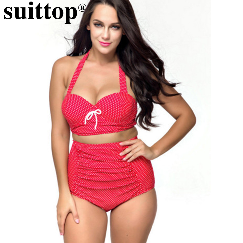 suittop High Waist Swimsuit 2017 Bikini Women Bathing Suit Vintage Retro Push Up Bikini Set Plus Size Swimwear Summer Beach 4XL hot sale women ladies sexy retro padded push up tassel high waist plus size bikini swimwear swimsuit bathing