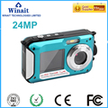 Doble pantalla a prueba de agua la cámara digital con 2.7 ''TFT pantalla HD 24mp cámara envío gratis