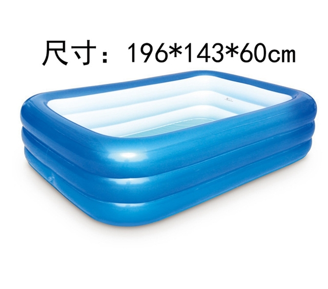 large size 6ft inflatable family swimming pool outdoor rectangle portable adult kids children bathtub 196x143x60cm - Rectangle Inflatable Pool