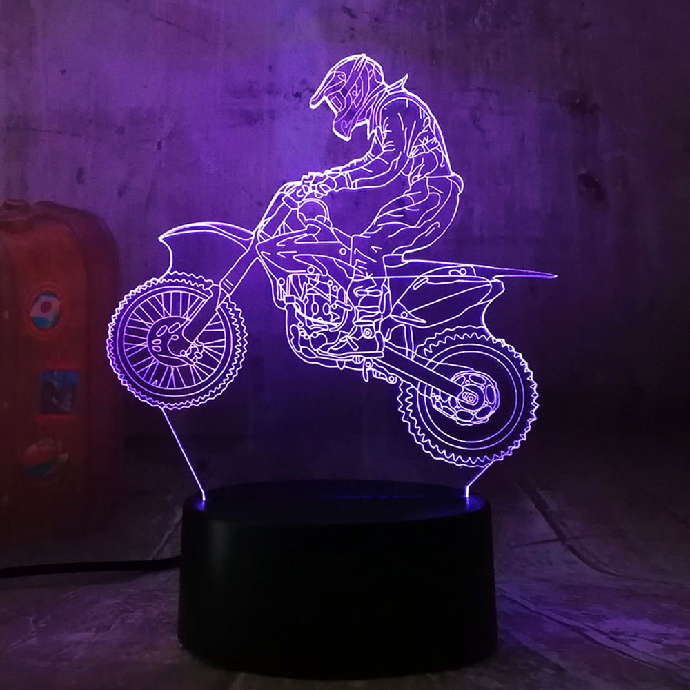 Amroe 3D Extremity Motorcycle LED Cool Boy Gift Night Light LED Desk Table Lamp RGB Gradient Child Birthday New Year Gifts