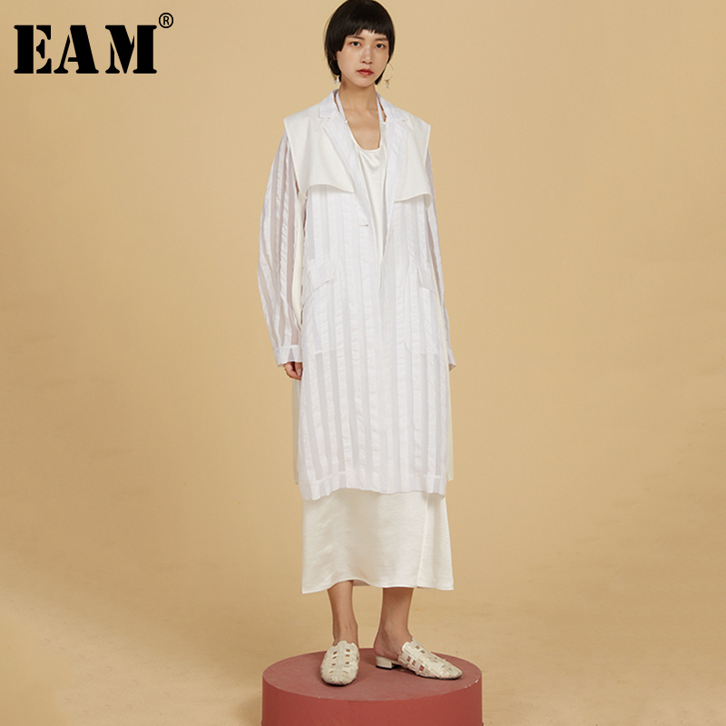 EAM 2019 New Spring Summer Lapel Long Sleeve White Striped Perspective Stitch Loose Long Jacket