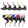 "7/8"" 22mm Universal Motorcycle Brake Clutch Levers Master Cylinder Kit Fluid Reservoir Set 5 Colors Options"