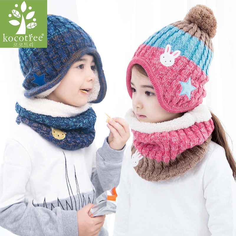 5188b3c3 ... Kocotree 2 to 10 years old 3 Pieces Winter Children Knit Hat Scarf  Mitten Set Crochet ...