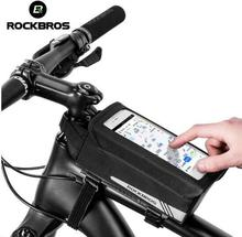 ROCKBROS Cycling Bike Bag Touch Screen Phone TPU Bicycle Rainproof MTB Road Tube Front Frame With Rain Cover