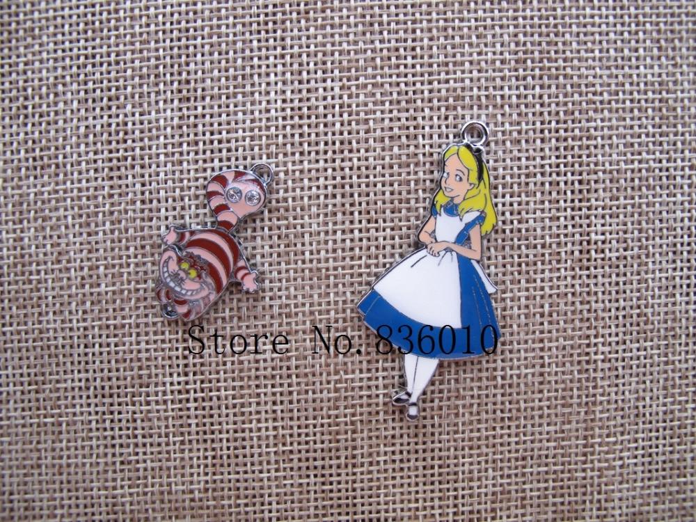 20Pcs Alice in Wonderland Princess cartoon Charm Pendant DIY Jewelry Making gift