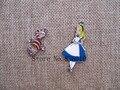 Wholesale 20pcs Alice in Wonderland Princess Cheshire Cat Enamel Metal Charm Pendants DIY Jewelry Making Party Favors  JJ-16