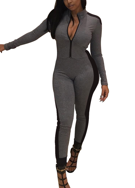 0cabaf6d794b 2019 Fashion Tracksuit for Women Long Sleeve Jumpsuit Stand Collar Zipper  Bodysuit female Rompers Casual Slim Overalls Playsuit