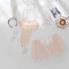 Konijn Meisje Jurk Bunny Kostuum voor Rol Speelt Vrouwen Sexy Bunny Cosplay Bodysuit Set Ondergoed Turnpakje Sexy Haloween Kostuums