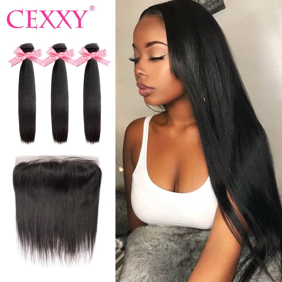 7A CEXXY Brazilian Hair Weave Bundles Straight Frontal With Bundles Human Hair Bundles Virgin Hair 13