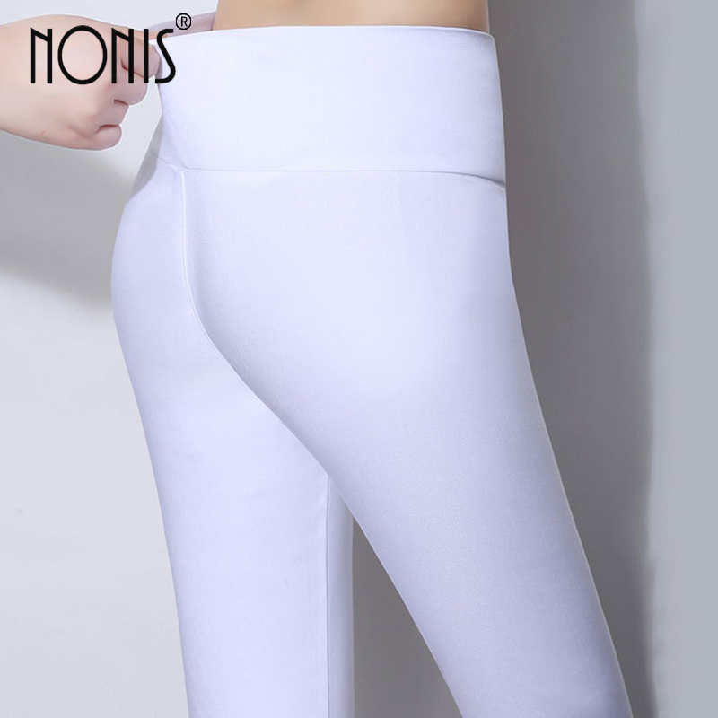 Nonis High Waist Women Skinny Leggings 2018 Candy Color Stretch Plus Size Kvinde Pencil Pants Ladies Leggings Plus Størrelse 6XL