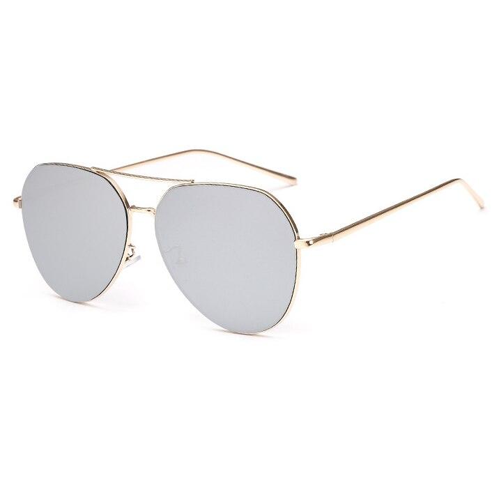New Fashion Flat Lens Mirror aviation Sunglasses Women Stylish Sun Glasses Lady Men Metal Frame Eyewear High Quality 4