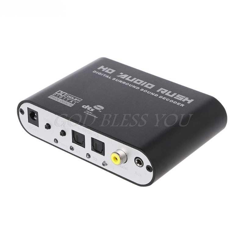 Цифровой DTS AC3 оптический к аналоговый 5.1CH объемного звука Декодер коаксиальный к 6RCA