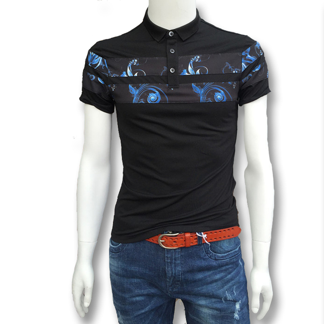 2016 Male Floral Summer Polo Shirts Men's Casual Fashion Slim Fit Large Size Short Sleeved Summer Polo Shirts Hombre Camisa Men